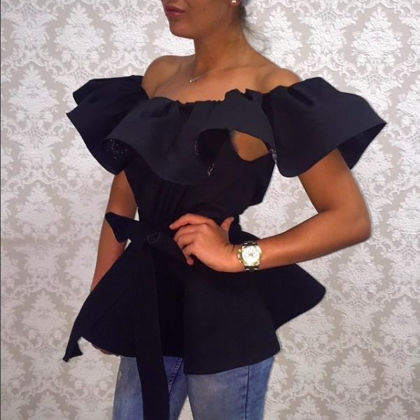 Как сшить платье с баской на плечах 88